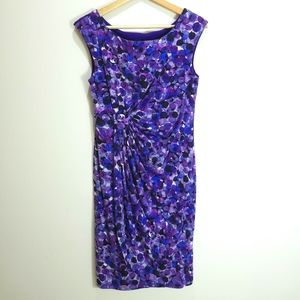 Connected Purple Bubbles Gathered Waist Dress